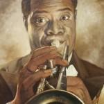 Kunstenaar Onbekend - Louis Armstrong - 160x140 cm € 2.200,00